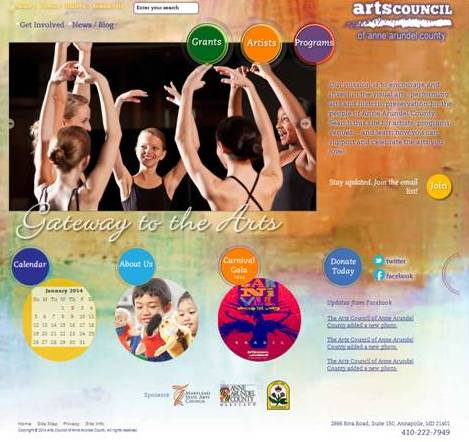 Arts Council of Anne Arundel County Website Design and Development
