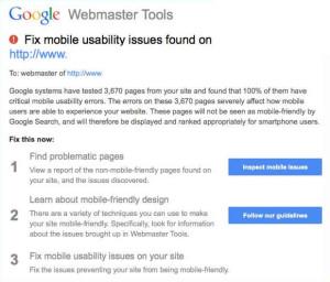 Google Mobile Usability Warning