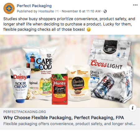 FPA Perfect Packaging Facebook post