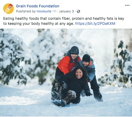 Grain Foods Foundation Facebook post