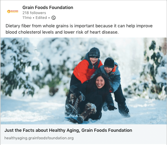 Grain Foods Foundation LinkedIn post