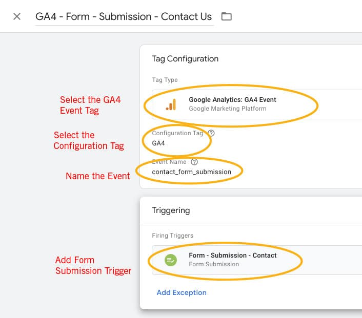 Setting up a form submission tag in Google Tag Manager for Google Analytics 4