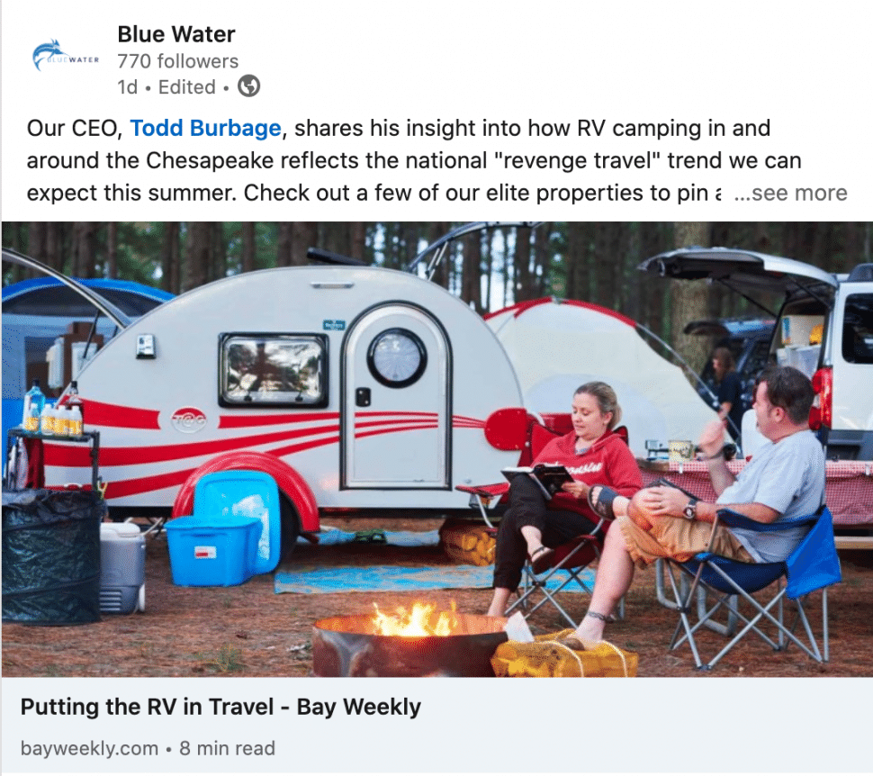 PR placement about RVing shared on LinkedIn