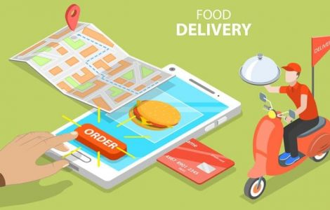 3D Isometric Flat Vector Concept of Restaurant and Cafe Online Food Order App, Fast Delivery Service by Scooter.